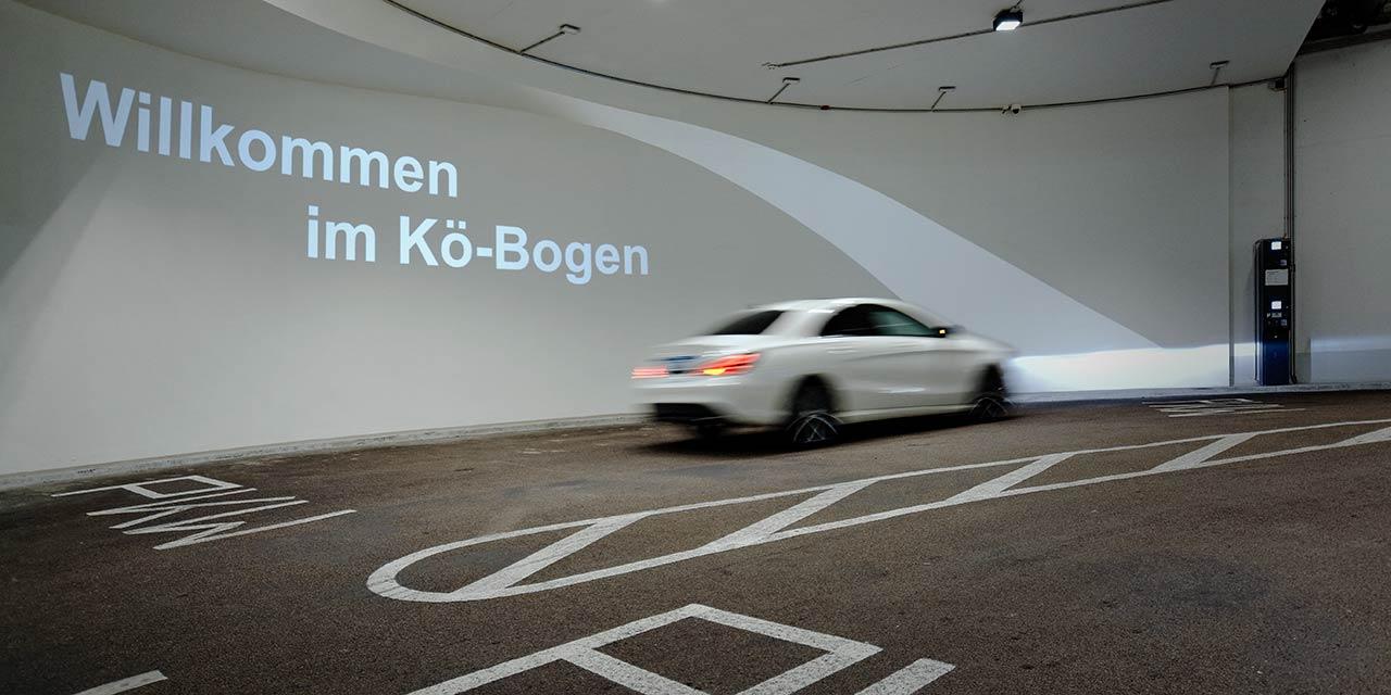 Gobo Projektion in Parkhaus und Tiefgarage - Düsseldorf